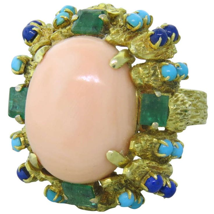 1970s Gold Coral Emerald Lapis Turquoise Cocktail Ring | From a unique collection of vintage more rings at http://www.1stdibs.com/jewelry/rings/more-rings/