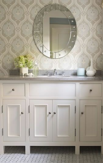 Wallpapers In A Bathroom - wallpaper like this for the half bath! Maybe with a painted ceiling??