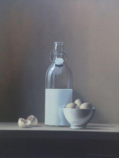 Chris Overbeeke | Dutch painter | Dutch artist | Realism | Realist painter | Still life | Milk Bottle | Eggs