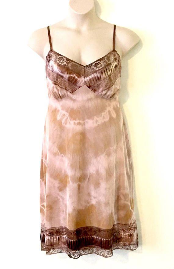 Ethereal Bohemian Dusty Pink & Brown Twist Dyed Vintage Slip