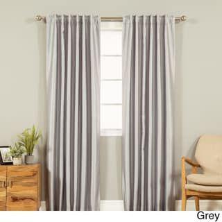 Aurora Home Candy Stripe Faux Silk Curtain Panel – 52 x 84 (Sage), Green(Polyester)