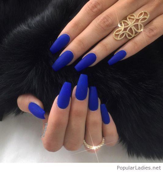 Bright blue long nails