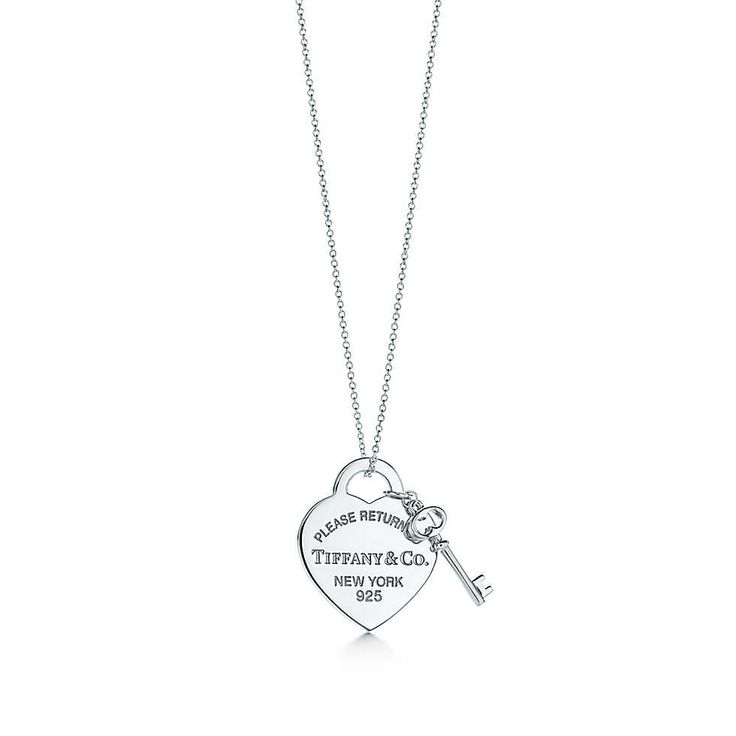 Return to Tiffany™ medium heart tag with key pendant in sterling silver.   Tiffany & Co.