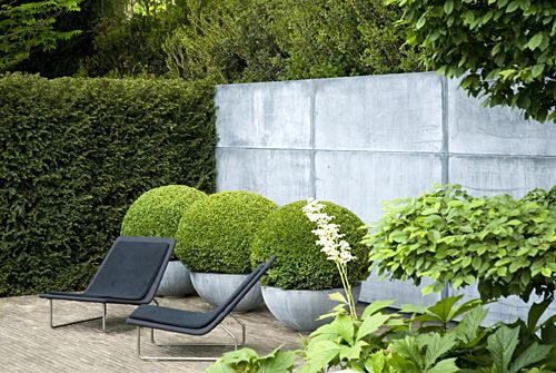 shades of grey, boxwood and pale creamy stone