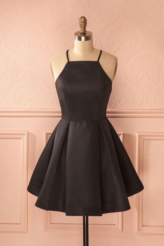 Knee Length Black Graduation Dress Party Dress
