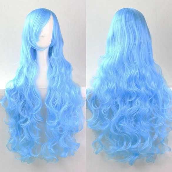 Cosplay Lolita pruik lang krullend haar lichtblauw