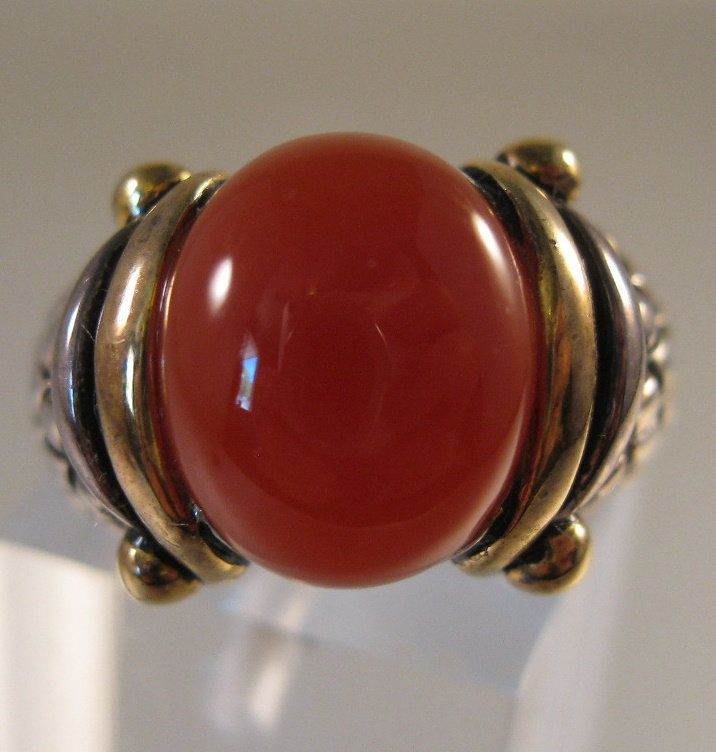Sterling Silver Carnelian Cabochon Wire Wrapped Ring