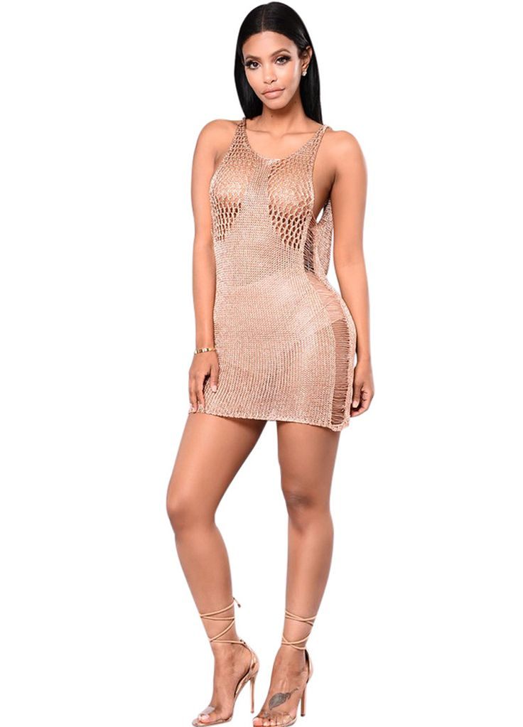 Open Back Metallic Knit Cover-up Dress_Beach Dress_Swimwears_Sexy Lingeire | Cheap Plus Size Lingerie At Wholesale Price | Feelovely.com
