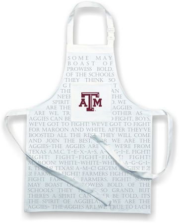 Every self respecting Aggie knows the words to the Aggie Fight song by heart, but it doesn't make this apron any less fun!   Perfect for tailgating or a game day cookout, this apron is printed with the words to the Aggie Fight Song and features the Texas A&M logo.