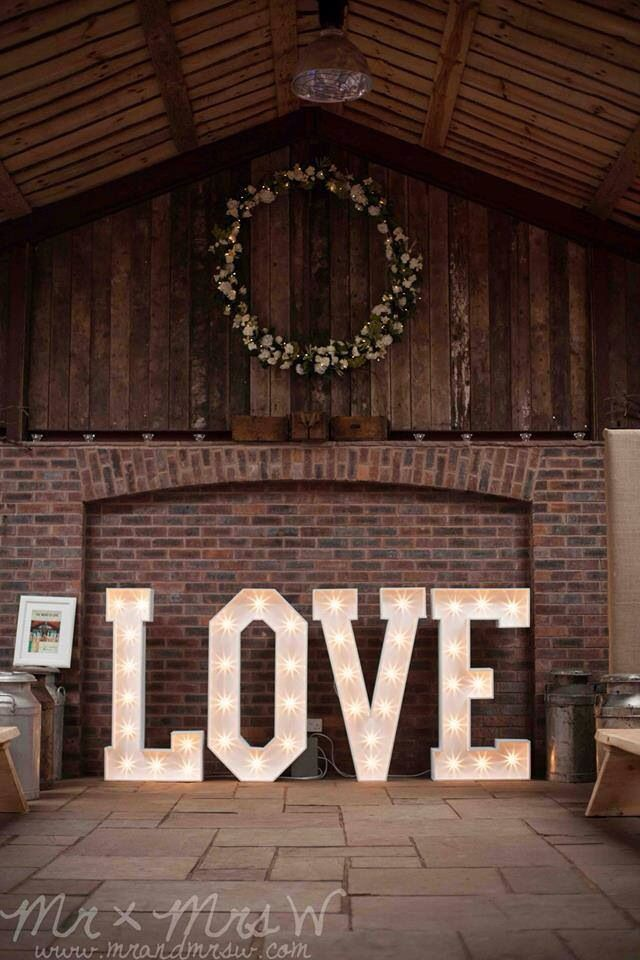 Perfect wedding prop, light up love letters. These would look great in the ballroom at www.manorbythelake.co.uk