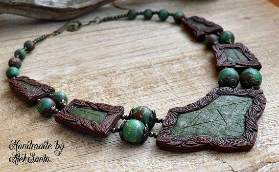 Groene ketting Donkerbruine Collier blad ketting verklaring ketting Elven ketting Beaded ketting Bib ketting sieraden van polymeer klei voor vrouwen