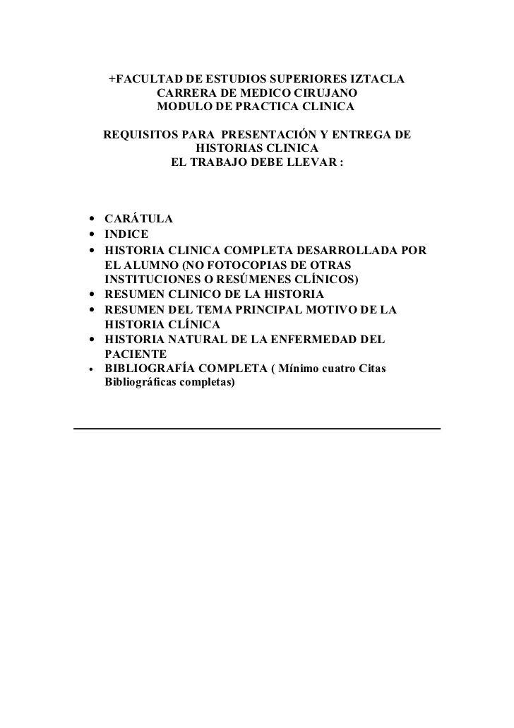+FACULTAD DE ESTUDIOS SUPERIORES IZTACLA        CARRERA DE MEDICO CIRUJANO        MODULO DE PRACTICA CLINICA REQUISITOS PA...