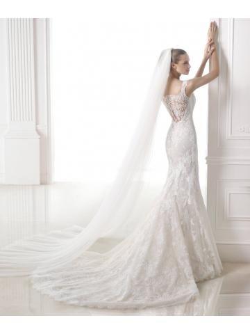 Romantische V-hals Sheer back delicate bandjes mouwloze kanten zeemeermin jurk