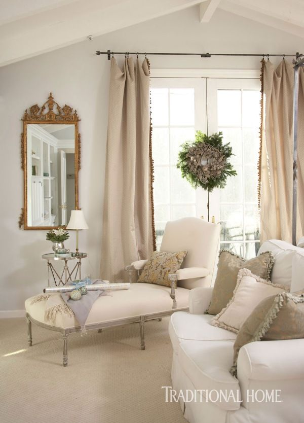 The cream-colored Louis XVI-style chaise in the master bedroom's sitting area dates to 1890. - Photo: Colleen Duffley / Design: Krissie Brubaker