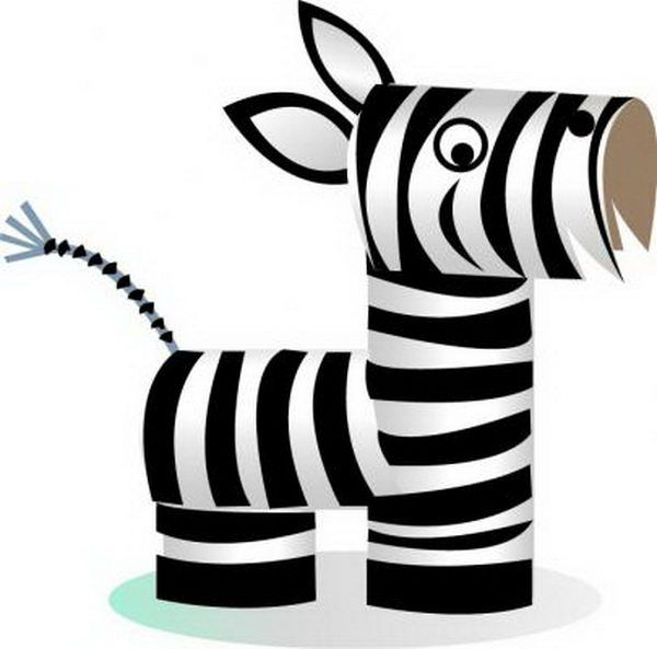 Homemade Zebra Craft - 60 Homemade Animal Themed Toilet Paper Roll Crafts, http://hative.com/homemade-animal-toilet-paper-roll-crafts/,