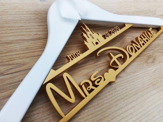 Disney Castle Hanger mrs hanger Custom Name Hanger Disney Bride Hanger Castle hanger Disney Castle Wedding Hanger Disney Wedding Gift