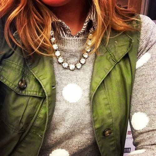 Polka Dots Sweater with Sleeveless Army Jacket + a little bling. Perfect.