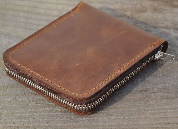 Genuine Leather wallet with lagre zipper-Men wallet-bifold wallet-Brown vintage Leather purce.