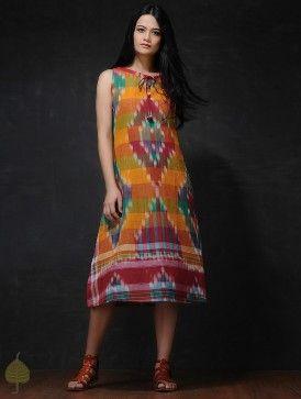 Multicolored Front Tie-Up Handloom Cotton Dress