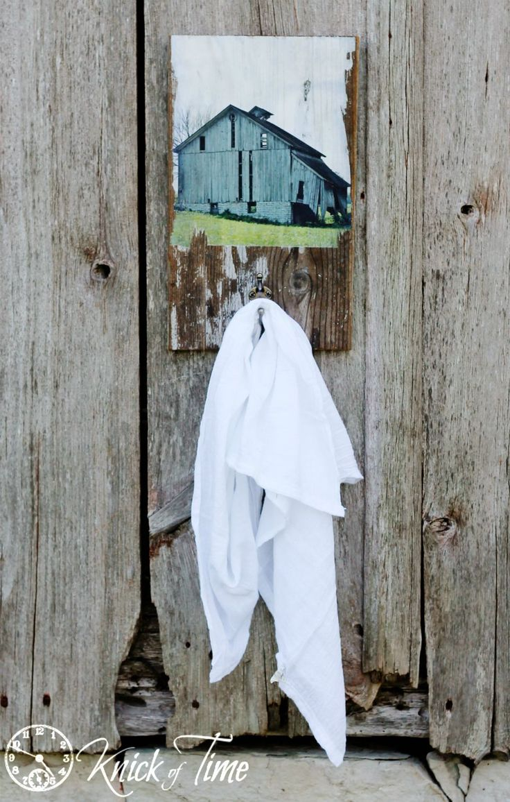 DIY - Turn an Old Barn Photo Reprint into a Salvaged Wood Wall Hook - from Knick Of Time @ knickoftime.net