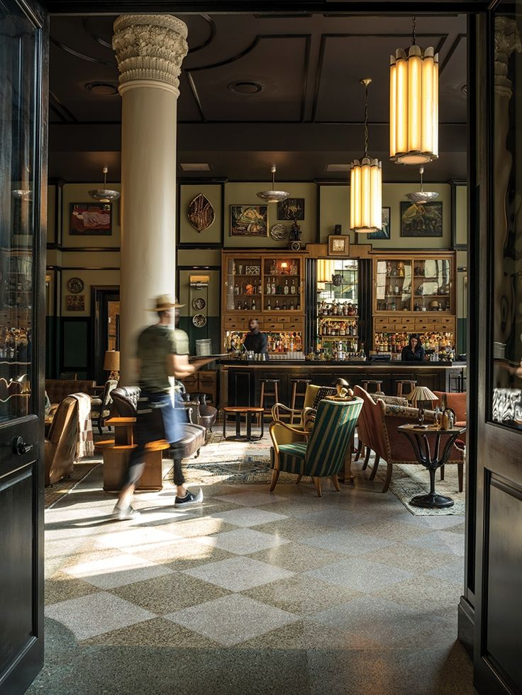 Terrazzo Flooring--The lobby bar has the feeling of old New Orleans.