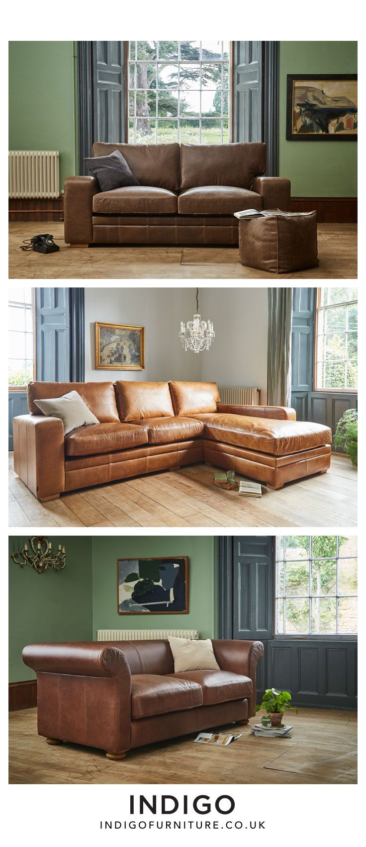 Create a relaxed, welcoming living room with this unique range of handcrafted leather sofas from Indigo. Defined by classic style lines, sumptuous fillings and hand built kiln dried hardwood frames expertly upholstered in signature Aniline leathers and tactile fabrics.