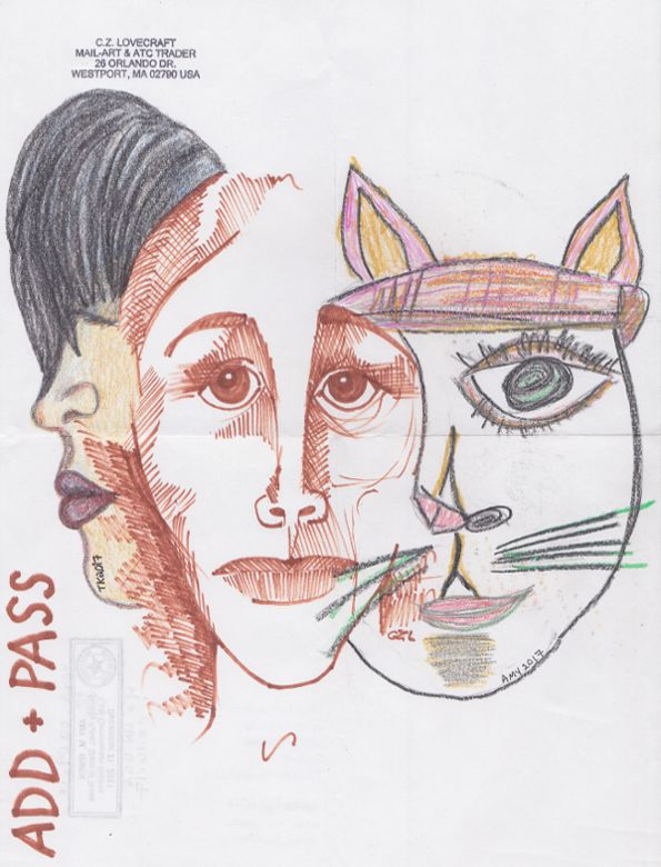 Add and pass: before, during and after. With Amy Irwen and Cz Lovecraft. #mailart #AddAndPass #drawings http://www.tiinafromfinland.com/mail-art/add-and-pass/add-and-pass-before-during-and-after/