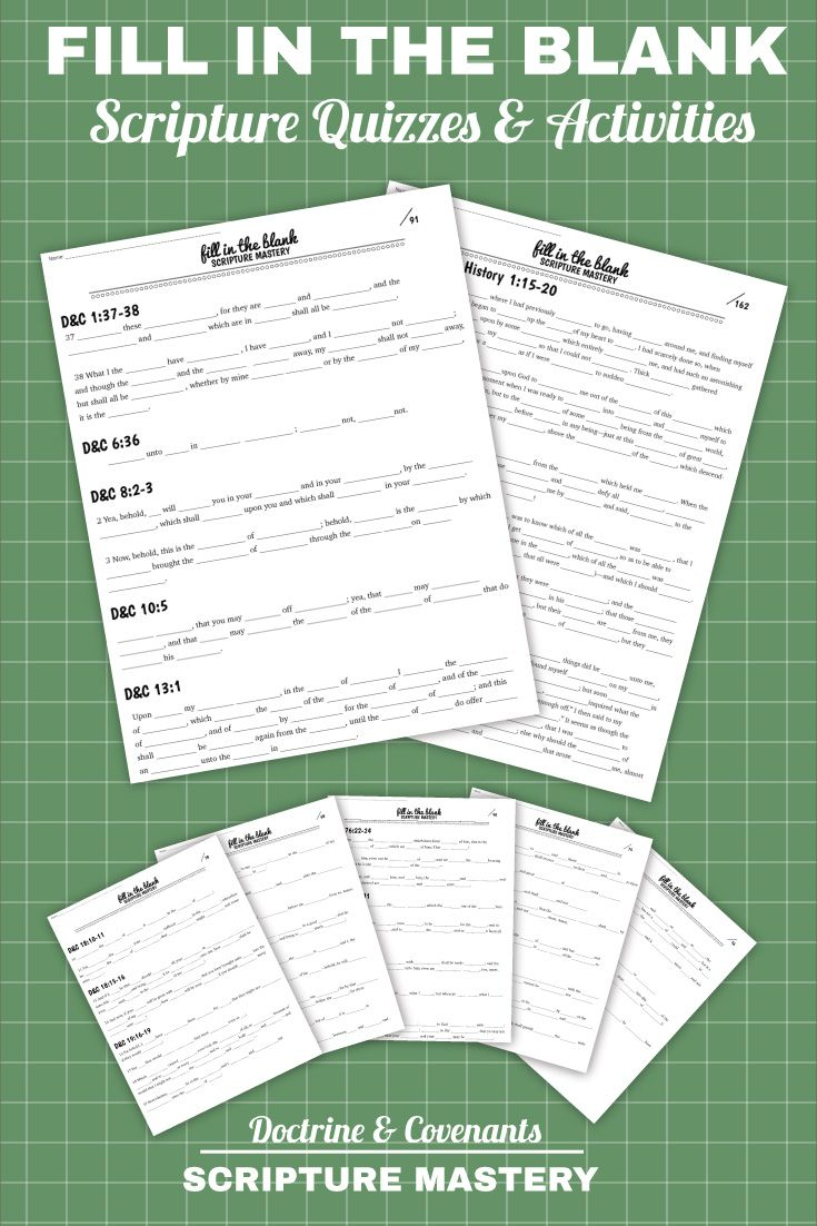 75 pages of Scripture Mastery quizzes, tests and activities. The tests and discussion questions are awesome!