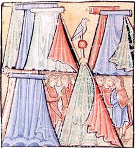 A fantastic  early medieval illustration of Anglo-Saxon soldiers at camp in their tents.  The bird (falcon?) is a fantastic touch.  Interesting view of their clothing, as well.
