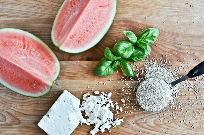 Summery salad: Watermelon Feta, Watermelon Basil Quinoa, Recipes Version, Easyrecip Recipes, Feta Quinoa, Quinoa Salad, Healthy Recipes, Quinoa Recipes, Feta Basil