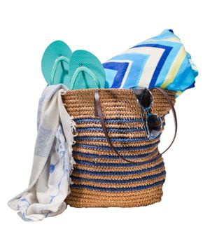 OMG, of COURSE, why have I never thought of this one before? Container: A straw tote for carrying all the beach or pool-side essentials. Contents: Bright Flip Flops, Plush Beach Towel, Stylish Sunglasses, & Lightweight Scarf