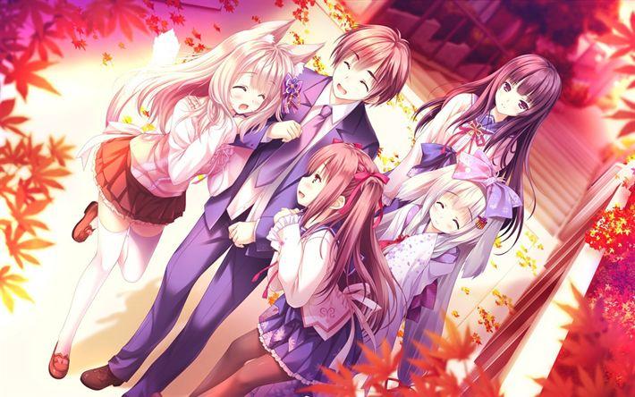 Download wallpapers Yorite Konoha wa Kurenai ni, Japanese anime, manga, novel