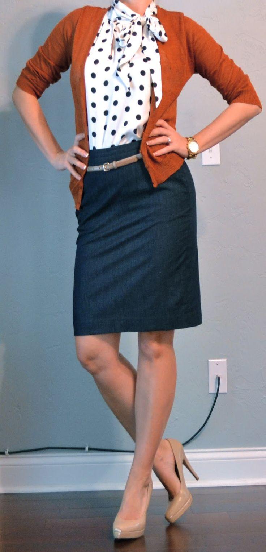 denim skirt and cardigan | outfit posts: denim pencil skirt, polka dot blouse, cardigan