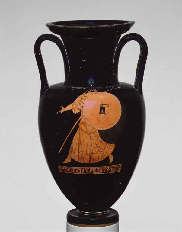 Greek, Attica, said to have been found at Nola, Italy Attributed to the Achilles Painter  Amphora (Storage Jar), c. 470 B.C.  Terracotta, red-figure technique