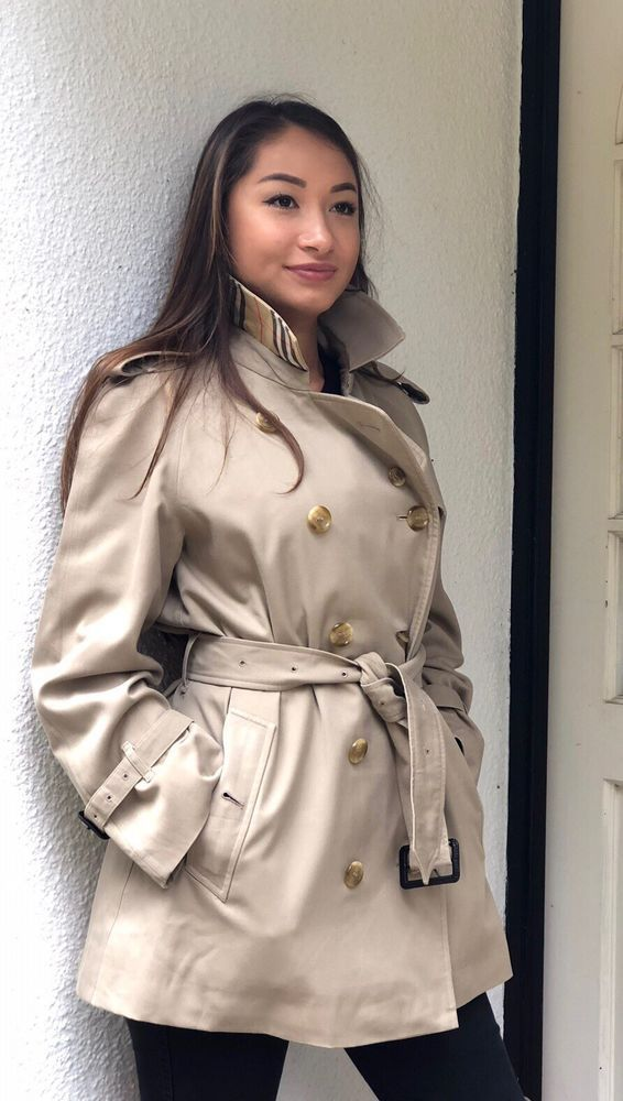 1d15bb2739 Womens Vintage Burberrys Double Breasted Trench Coat In Beige - Size UK  12 14