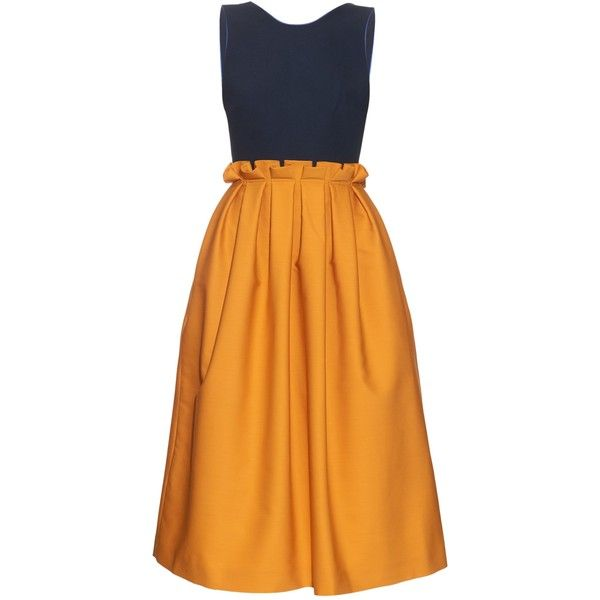 Mother Of Pearl Lola tie-back sleeveless midi dress (610 SGD) ❤ liked on Polyvore featuring dresses, yellow navy, yellow midi dress, navy blue dress, orange dress, navy blue midi dress and open back dress