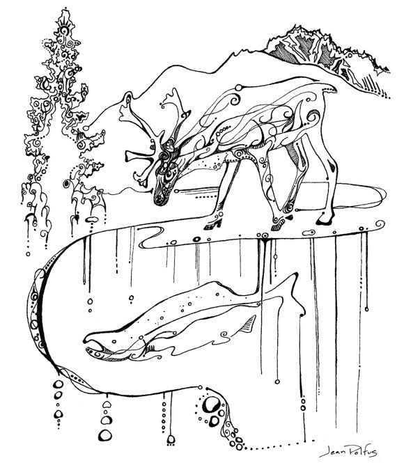 Caribou and salmon illustration, fine line artwork, black and white, caribou drawing, wildlife art, salmon artwork, nature drawing