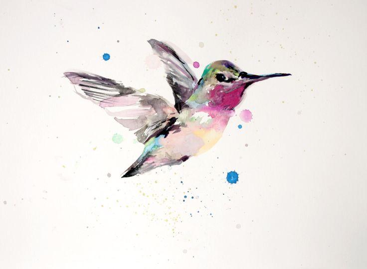 Hummingbird Watercolor Print of Original Artwork by CirqueDeCearle, $8.00