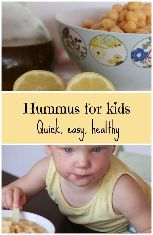 Hummus for kids, quick, easy and healthy. Just 3 ingredients, chickpeas, lemon juice and olive oil.