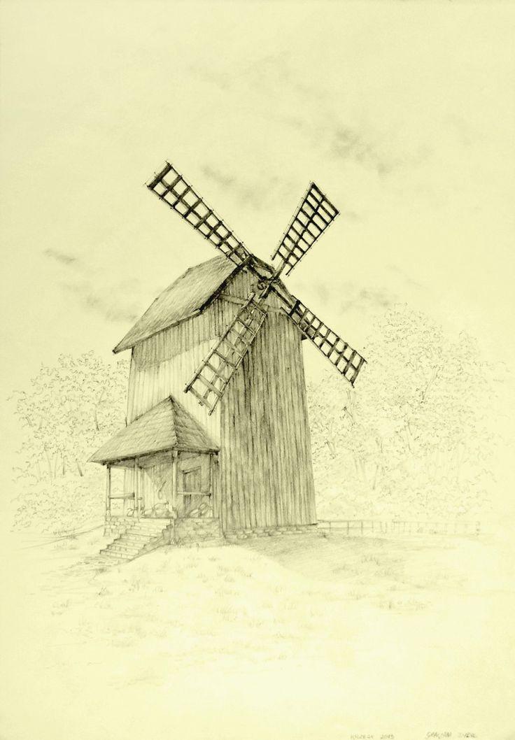 Wiatrak drewnany w krzesku