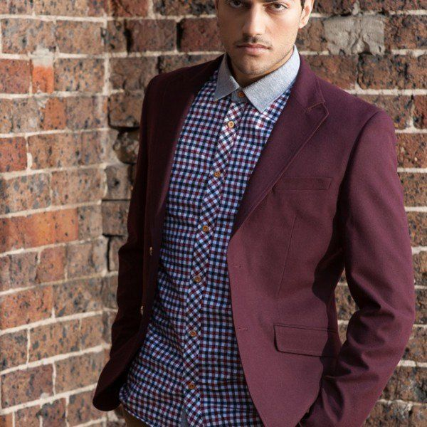 Men's Slim Fit Military Blazer - Maroon  $129.95 #Blazers&Jackets #www.sieteclothingco.com.au