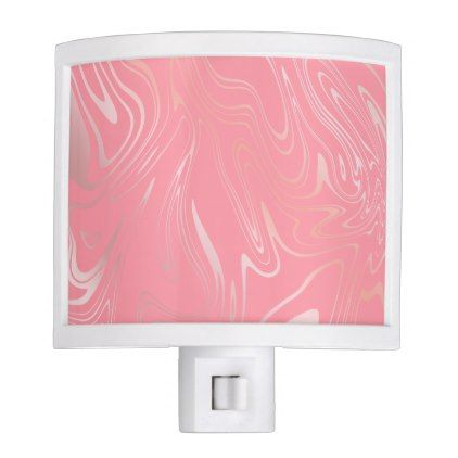 Elegant stylish girly rose gold marble look pink night light - minimal gifts style template diy unique personalize design