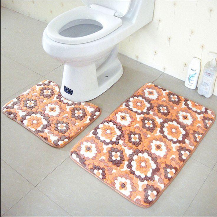 2pcs/set PVC Mesh Thicken Coral Fleece Floor Bath Mats Set