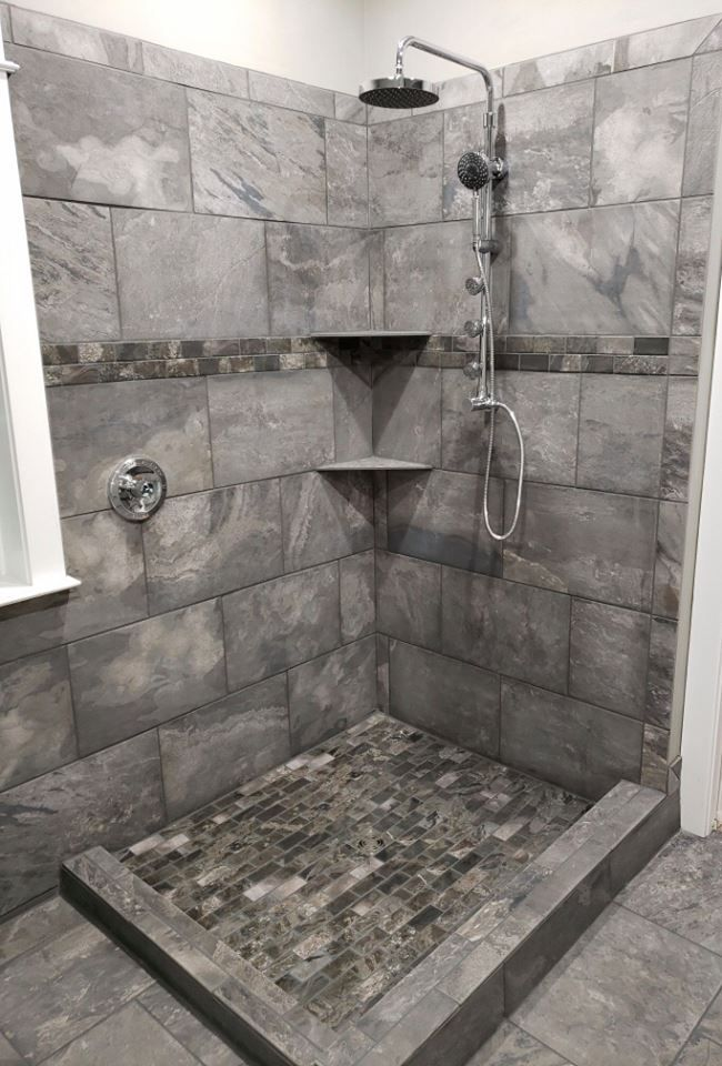Gorgeous Gray Tile Combination For Our Client S Shower Shower Tile Gray Shower Tile Bathroom Remodel Master