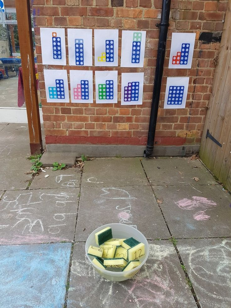 Recognising numbers 11-20. Throw a wet sponge at the matching Numicon target.