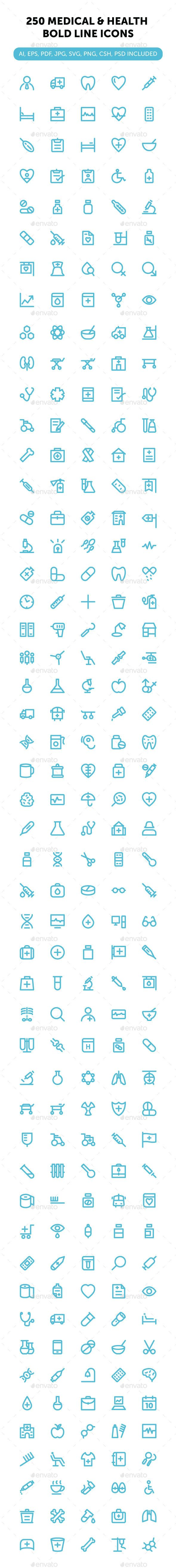 250 Medical and Health Bold Line Icons #design Download: http://graphicriver.net/item/250-medical-and-health-bold-line-icons/12580616?ref=ksioks