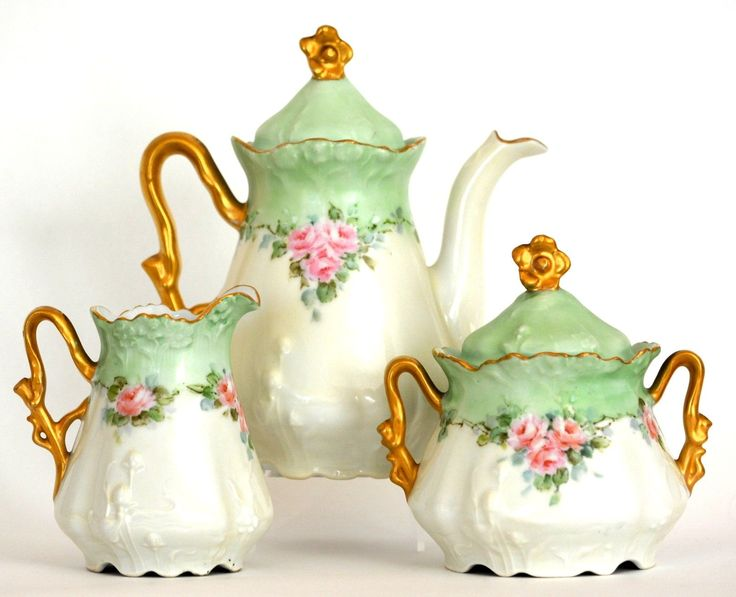 Bavaria Hand Painted Roses Tea Set