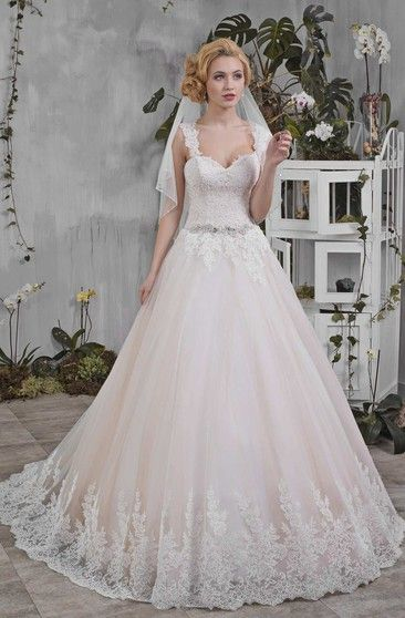 Queen Anne Sweetheart A-Line Ball Gown Wedding Dress With Beading And Appliques