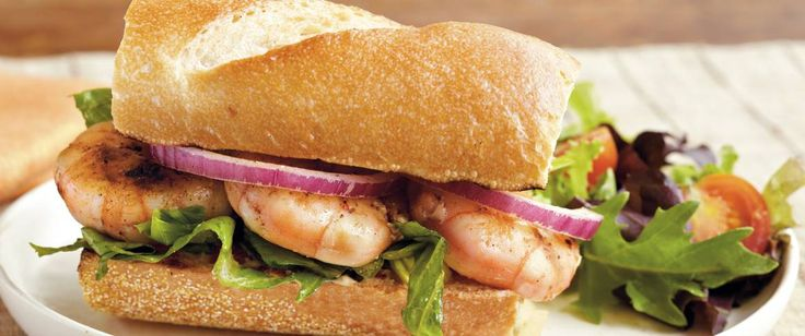 Serve these grilled sandwiches filled with lettuce, shrimp and mayonnaise mixture – a hearty dinner for four.