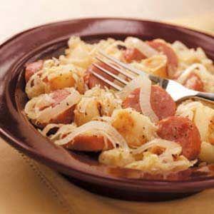 Sausage and Sauerkraut w/potatoes & onions. Used turkey kielbasa. Potatoes need longer to cook than calls for. Pretty good.